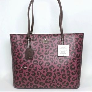 Kate Spade Medium Tote Carryall Bag with Graphic Leopard Print